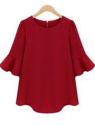 Was and Now - Fashion Clothing - 2 Color   Falbala Plain Plus Size  Short Sleeve T-shirts