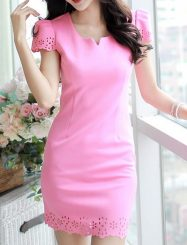 Was and Now - Fashion Clothing - 2 Color  Hollow Out Plain Round Neck  Bodycon-dress