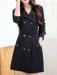 Was and Now - Fashion Clothing - 2 Color  Lapel Breasted With Pockets  Trench-coats