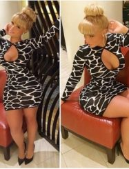Was and Now - Fashion Clothing - Cheap Sexy O Neck Long Sleeves Open-work Print Polyester Night Club Sheath Mini Dress