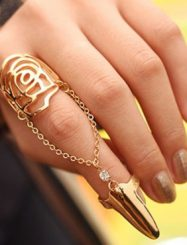 Was and Now - Fashion Clothing - Fashion Hollow-out Rose Shaped Gold Metal Ring