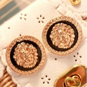 Was and Now - Fashion Clothing - Fashion Retro Round Shape Lion Head Gold Metal Earrings