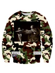 Was And Now - Womens Crewneck Camo 3D Digital Printed Sweatshirt Green