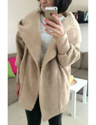 Was And Now - Womens Plain Long Sleeve Double-Sided Plush Hooded Cardigan Coat Khaki