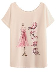 Was And Now - 2015 Cheap White Ladies Fashion Doodle Printed Loose T-Shirt