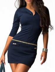 Was and Now - Fashion Clothing - Elegant V Neck Half Sleeve Bodycon Dress