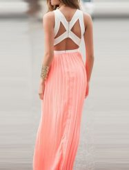 Was and Now - Fashion Clothing -  hundred Pleats Hollow Out Patchwork Zips Crew Neck Maxi Dress