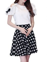 Was and Now - Fashion Clothing - Absorbing Off Shoulder Mandarin Sleeve Plain Top And Polka Dot Skirt