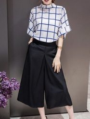 Was and Now - Fashion Clothing - Basic Plaid Tee And Plain Pants