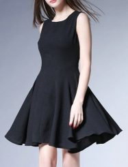 Was and Now - Fashion Clothing - Black Modern Crew Neck Skater Dress