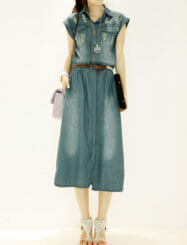 Was and Now - Fashion Clothing - Flap Pockets Designed Polo Collar Light Wash Rip Frayed Maxi-dress