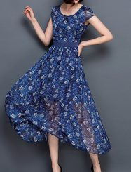 Was and Now - Fashion Clothing - Floral Printed Absorbing Maxi-dress