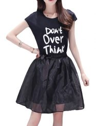 Was and Now - Fashion Clothing - Nifty Round Neck Letter Printed Long Tee And A Line Hollow Out Skirt