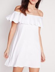 Was and Now - Fashion Clothing - Off Shoulder White Loose Fitting Shift Dress