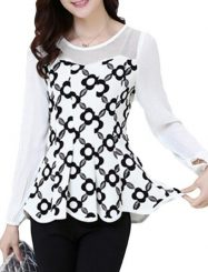 Was and Now - Fashion Clothing - Patchwork Printed Charming Round Neck Blouses