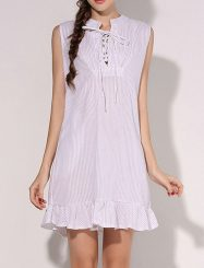 Was and Now - Fashion Clothing - Pinstripe Charming Ruffle Hem Lace Up Shift-dress