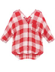 Was and Now - Fashion Clothing - Plaid V Neck Blouses