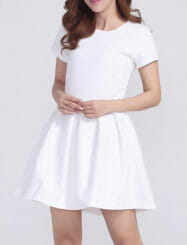 Was and Now - Fashion Clothing - Plain Chic Crew Neck Skater Dress
