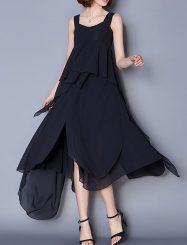 Was and Now - Fashion Clothing - Plain Falbala Asymmetrical Hems Exquisite Sweetheart Maxi-dress