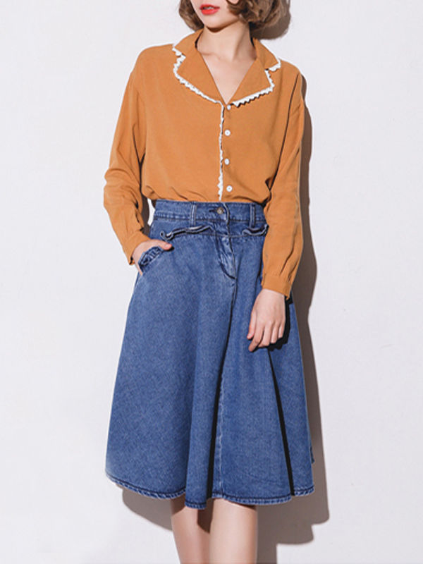 Was and Now - Fashion Clothing - Plain Falbala Pockets Designed Midi-skirts