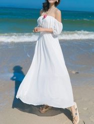 Was and Now - Fashion Clothing - Plain Fantastic Off Shoulder Maxi Dress