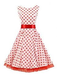 Was and Now - Fashion Clothing - Polka Dot Vintage Attractive Round Neck Skater Dress