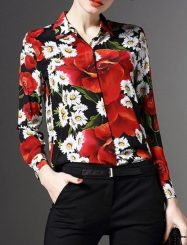 Was and Now - Fashion Clothing - Printed Designed Small Lapel Long Sleeve Blouses