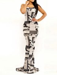 Was and Now - Fashion Clothing - Printed Round Neck Sleeveless Maxi Dress