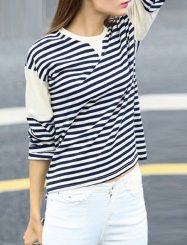 Was and Now - Fashion Clothing - Striped Casual Crew Neck Long Sleeve T-shirts