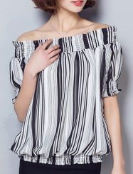 Was and Now - Fashion Clothing - Striped Slash Neck Short Sleeve T-shirts