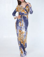 Was and Now - Fashion Clothing - Floral Printed Bowknot Designed V Neck Maxi-dress