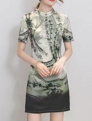 Was and Now - Fashion Clothing - Single Breasted Printed Exquisite Band Collar Bodycon-dress