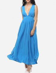 Was and Now - Fashion Clothing - Zips V Neck Chiffon Plain Maxi Dress