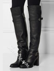 Was And Now - ?Fancy Genuine Leather Knee High Boots