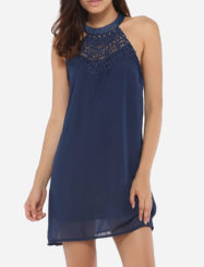 Was and Now - Fashion Clothing - Loose Fitting Halter Chiffon Hollow Out Lace Patchwork Plain Shift-dress