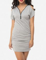 Was and Now - Fashion Clothing - Zips V Neck Cotton Hollow Out Plain Bodycon-dress
