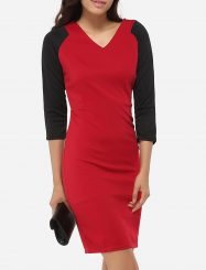 Was and Now - Fashion Clothing - Zips V Neck Dacron Color Block Bodycon-dress