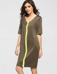 Was and Now - Fashion Clothing - Zips V Neck Dacron Color Block Shift-dress