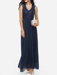 Was and Now - Fashion Clothing - Zips V Neck Dacron Hollow Out Lace Patchwork Plain Evening Dress