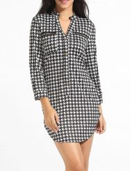 Was and Now - Fashion Clothing - Zips V Neck Dacron Houndstooth Split Shift-dress