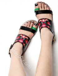 Was And Now - Shoespie Exquisite Embroidery Clip Toe Flat Sandals