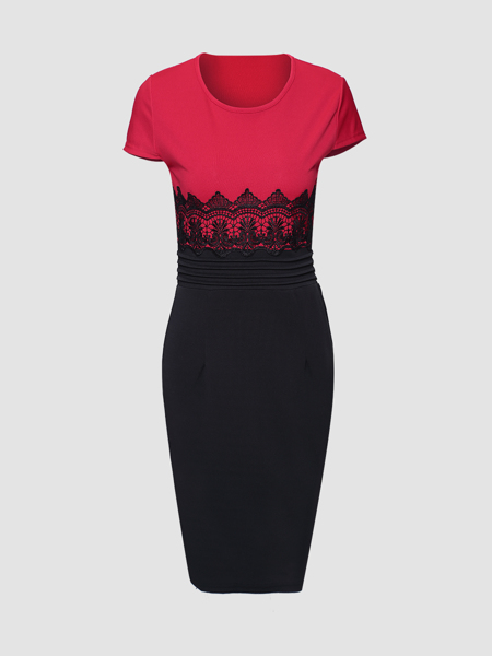 Was and Now - Fashion Clothing - Color Block Lace Patchwork Round Neck Bodycon Dress