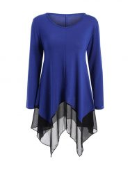 Was and Now - Fashion Clothing - Asymmetric Hem Patchwork Practical Designed Long Sleeve T-Shirt