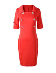 Was and Now - Fashion Clothing - Chic Turn Down Collar Double Breasted Plain Bodycon Dress