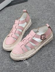 Was And Now - Shoespie Handmade Soft Leather Cutout Flat Sandals(buy one size larger than normal size)