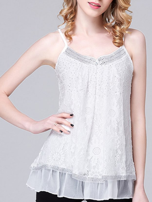 Was and Now - Fashion Clothing - Spaghetti Strap  Ruffled Hem Rhinestone Plain Sleeveless T-Shirt