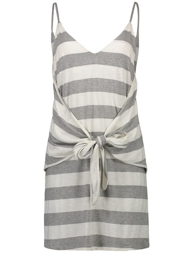 Was and Now - Fashion Clothing - Striped Tie-Front Spaghetti Strap Shift Dress