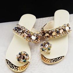 Was And Now - Beading Rhinestone Wedge Heel Womens Flat Slippers