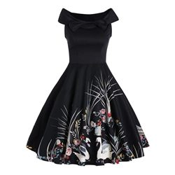 Was And Now - Shoespie Floral Color Block Backless Print Bow Slash Neck Dress
