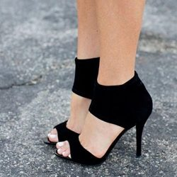 Was And Now - Shoespie Open Toe Black Stiletto Heels